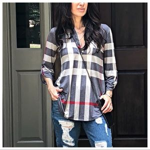 Tops - ✨LAST ONE ✨Plaid grey roll up sleeves tunic top